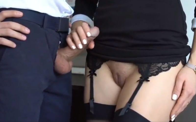 Naughty secretary gives her new boss a hot handjob